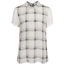 Buy French Connection Fluid Silk Checked Top, Vapour Blue Online at johnlewis.com