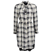 Buy French Connection Fluid Silk Check Drop Dress, Daisy White Online at johnlewis.com