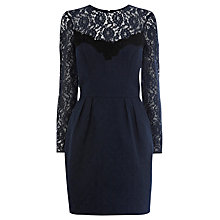 Buy Warehouse Lace Sleeve Jacquard Dress, Midnight Online at johnlewis.com