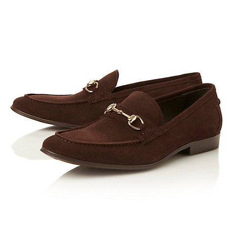 Buy Dune Adventure Snaffle Front Suede Loafers, Brown Online at johnlewis.com