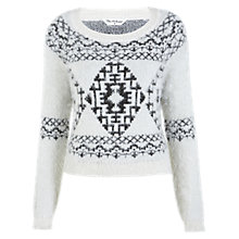 Buy Miss Selfridge Nordic Printed Fluffy Jumper, White Online at johnlewis.com