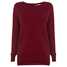 Buy Oasis Zip Crew Jumper, Burgundy Online at johnlewis.com
