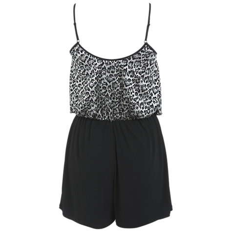 Buy Miss Selfridge Animal Print Lace Tier Playsuit, Black Online at johnlewis.com
