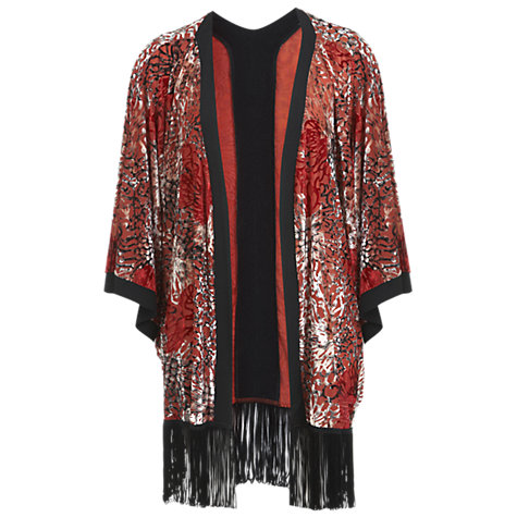 Buy Miss Selfridge Devoré Fringe Kimono, Red Online at johnlewis.com