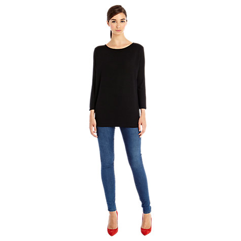 Buy Warehouse Shoulder Pad Batwing Top, Black Online at johnlewis.com