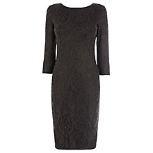 Buy Warehouse Metallic Jacquard Dress, Grey Online at johnlewis.com