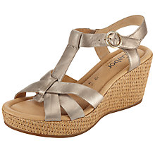 Buy Gabor Adeline Leather Platform Wedge Sandals, Pale Gold Online at johnlewis.com