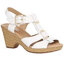 Buy Gabor Aristo Leather Metal Trim Sandals, White Online at johnlewis.com