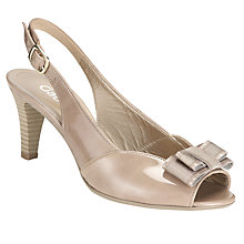 Buy Gabor Champ Patent Leather Slingback Bow Sandals, Beige Online at johnlewis.com