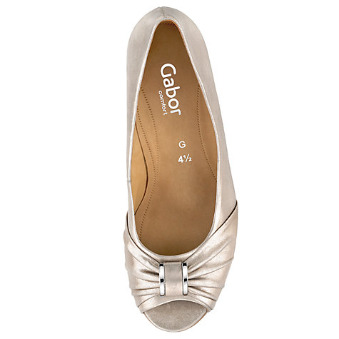 Buy Gabor Steele Leather Peep Toe Court Shoes Online at johnlewis.com