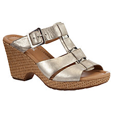 Buy Gabor Courage Leather Open Toe Slip On, Metallic Online at johnlewis.com