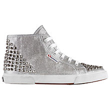 Buy Superga Women's 2750 Lamew Studded High Top Trainers, Silver Online at johnlewis.com