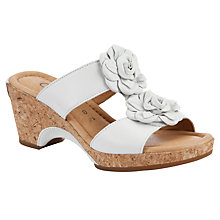 Buy Gabor Horizon Leather Flower Detail Sandals, White Online at johnlewis.com