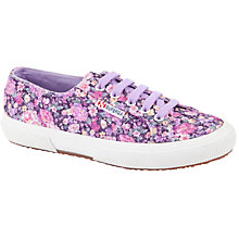 Buy Superga Women's 2750 Cotu Classic Trainer Plimsolls, Purple Floral Online at johnlewis.com