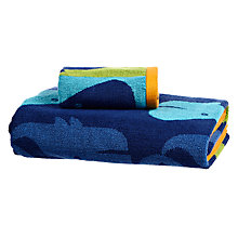 Buy little home at John Lewis Waves & Whales Repeating Whale Towels Online at johnlewis.com