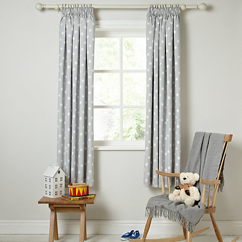 Buy little home at john lewis star pencil pleat blackout for Childrens curtains uk