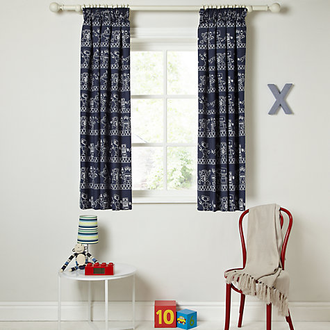 Buy little home at John Lewis Robotica Blueprint Pencil Pleat Blackout Lined Curtains Online at johnlewis.com