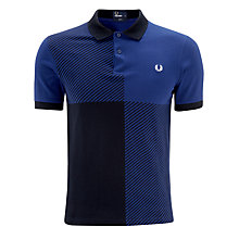 Buy Fred Perry Magnified Gingham Short Sleeve Polo Shirt, Medieval Blue Online at johnlewis.com