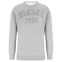 Buy Diesel Henner Script Crew Neck Sweatshirt, Grey Online at johnlewis.com
