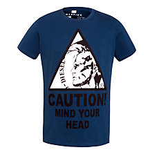 Buy Diesel Caution Mohawk Print T-Shirt, Petrol Blue Online at johnlewis.com
