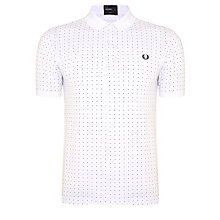 Buy Fred Perry Pin Dot Print Polo Shirt, White Online at johnlewis.com