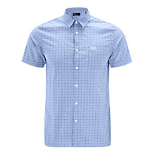 Buy Fred Perry Double Dot Short Sleeve Shirt, Turquoise Online at johnlewis.com