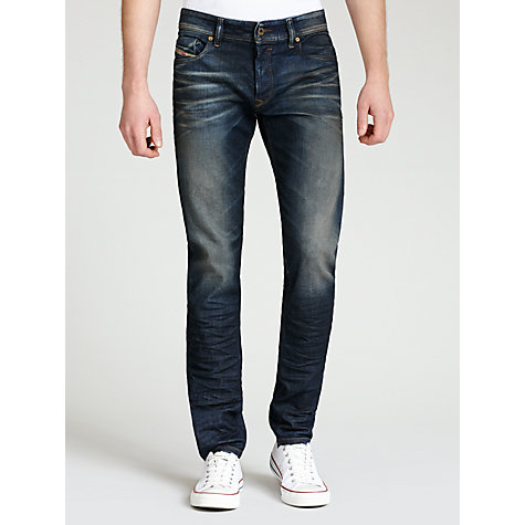 Buy Diesel Sleenker Skinny Fit Jeans, Blue Rinse Dark Wash Online at johnlewis.com