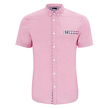 Buy Fred Perry Gingham Short Sleeve Shirt, Pink Online at johnlewis.com