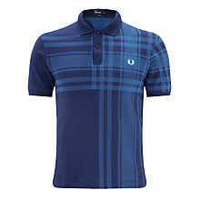 Buy Fred Perry Tartan Print Short Sleeve Polo Shirt, Mid Blue Online at johnlewis.com