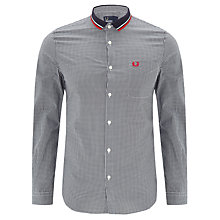 Buy Fred Perry Stripe Knitted Gingham Shirt, Navy/White Online at johnlewis.com
