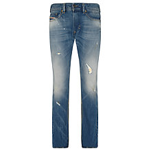 Buy Diesel Thavar Slim Stonewash Jeans, Distressed Vintage Blue Online at johnlewis.com