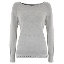 Buy Mint Velvet Stud Layer Knitted Jumper, Grey Online at johnlewis.com