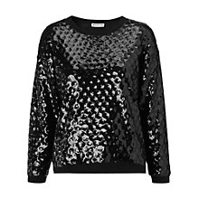Buy Whistles Circle Sequin Jumper, Black Online at johnlewis.com