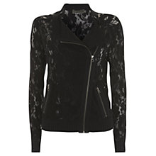Buy Mint Velvet Wool Lace Biker Cardigan, Black Online at johnlewis.com