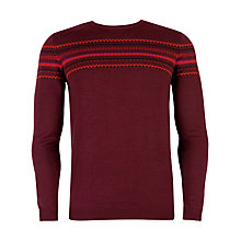 Buy Ted Baker Snodon Merino Fairisle Jumper, Dark Red Online at johnlewis.com
