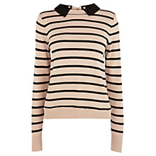Buy Oasis Stripe Collar Jumper, Multi Black Online at johnlewis.com