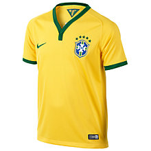 Buy Nike Junior Brasil CBF Stadium Replica Home Shirt 2013/2014, Yellow/Green Online at johnlewis.com