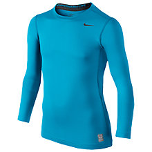 Buy Nike Boy's Pro Combat Hyperwarm Long Sleeve Top, Blue Online at johnlewis.com