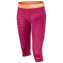 Buy Nike Girl's Pro Printed Capri Pants, Pink/Purple Online at johnlewis.com