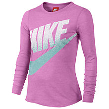 Buy Nike Girl's Futura Long Sleeved Top, Pink Online at johnlewis.com