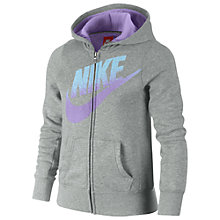 Buy Nike Girl's Futura Full Zip Hoodie, Grey Online at johnlewis.com