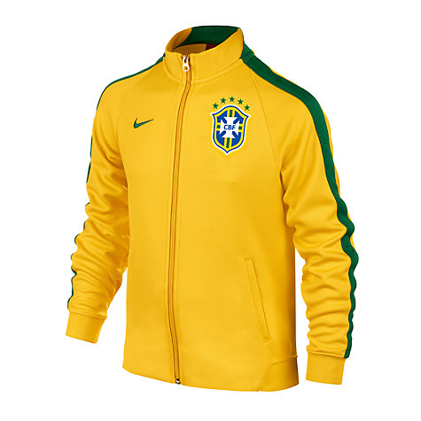 Buy Nike Junior CBF Brasil Track Top, Yellow/Green Online at johnlewis.com