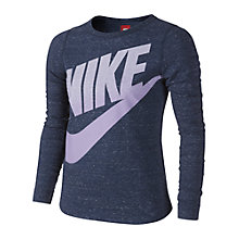 Buy Nike Girl's Futura Long Sleeved Top Cloned, Blue Online at johnlewis.com