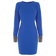 Buy Warehouse Embellished Cuff Dress, Bright Blue Online at johnlewis.com