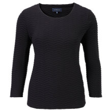 Buy Viyella Wave Textured Jersey Top, Black Online at johnlewis.com