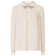 Buy Reiss Gracine Embellished Collar Top, Waterlilly Online at johnlewis.com
