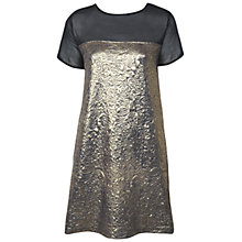 Buy Miss Selfridge Shimmer Jacquard T-Shirt Dress, Gold Online at johnlewis.com