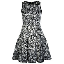 Buy Miss Selfridge Rose Jacquard Flared Dress, Grey Online at johnlewis.com