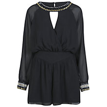 Buy Miss Selfridge Embellished Detail Playsuit, Black Online at johnlewis.com