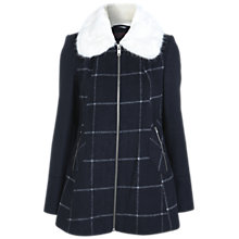 Buy Miss Sefridge Faux Fur Collar Zip Up Checked Coat, Navy Online at johnlewis.com